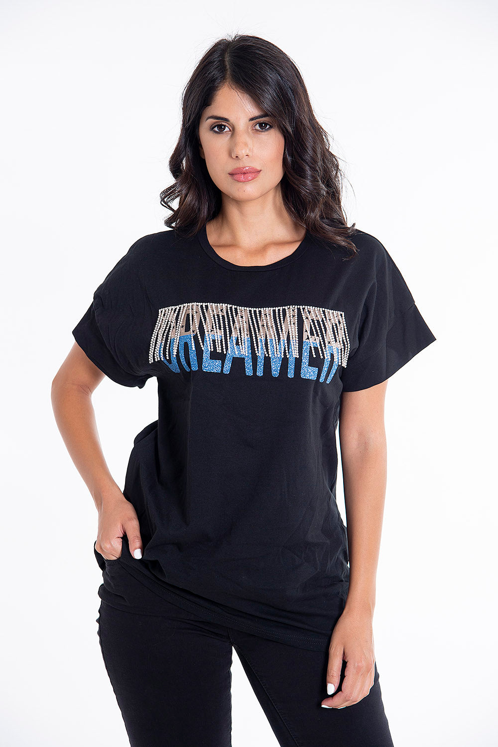 Hellen Batterr crystal fringes t-shirt with glitter text