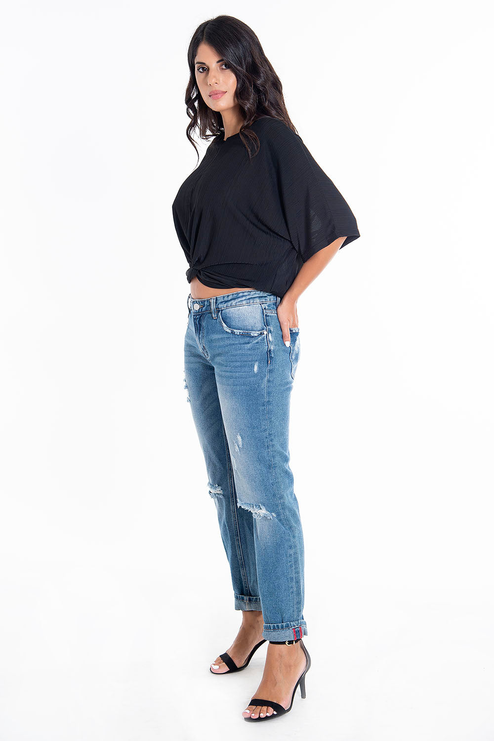 Influencer ribbed oversized t-shirt with knot