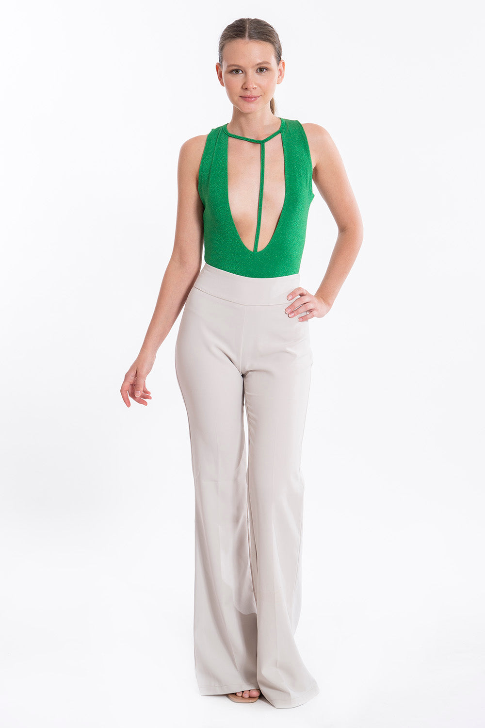 Flare high waist suited trousers