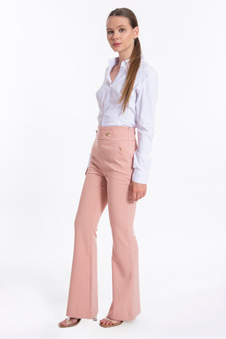 Josh V flare leg trousers and front gold buttons