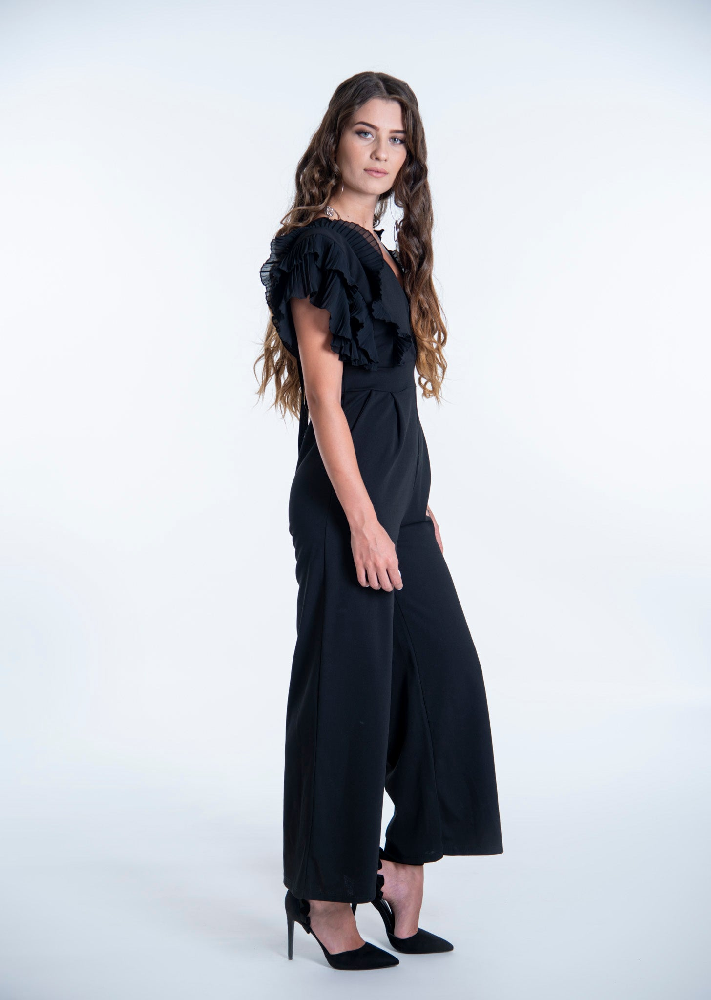 Chiffon ankle jumpsuit with wrap front and ruffles