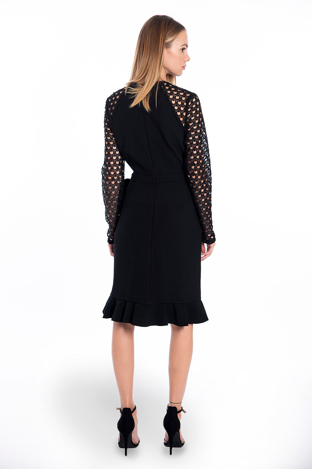 True Decadence midi dress with lace sleeves and ruffles