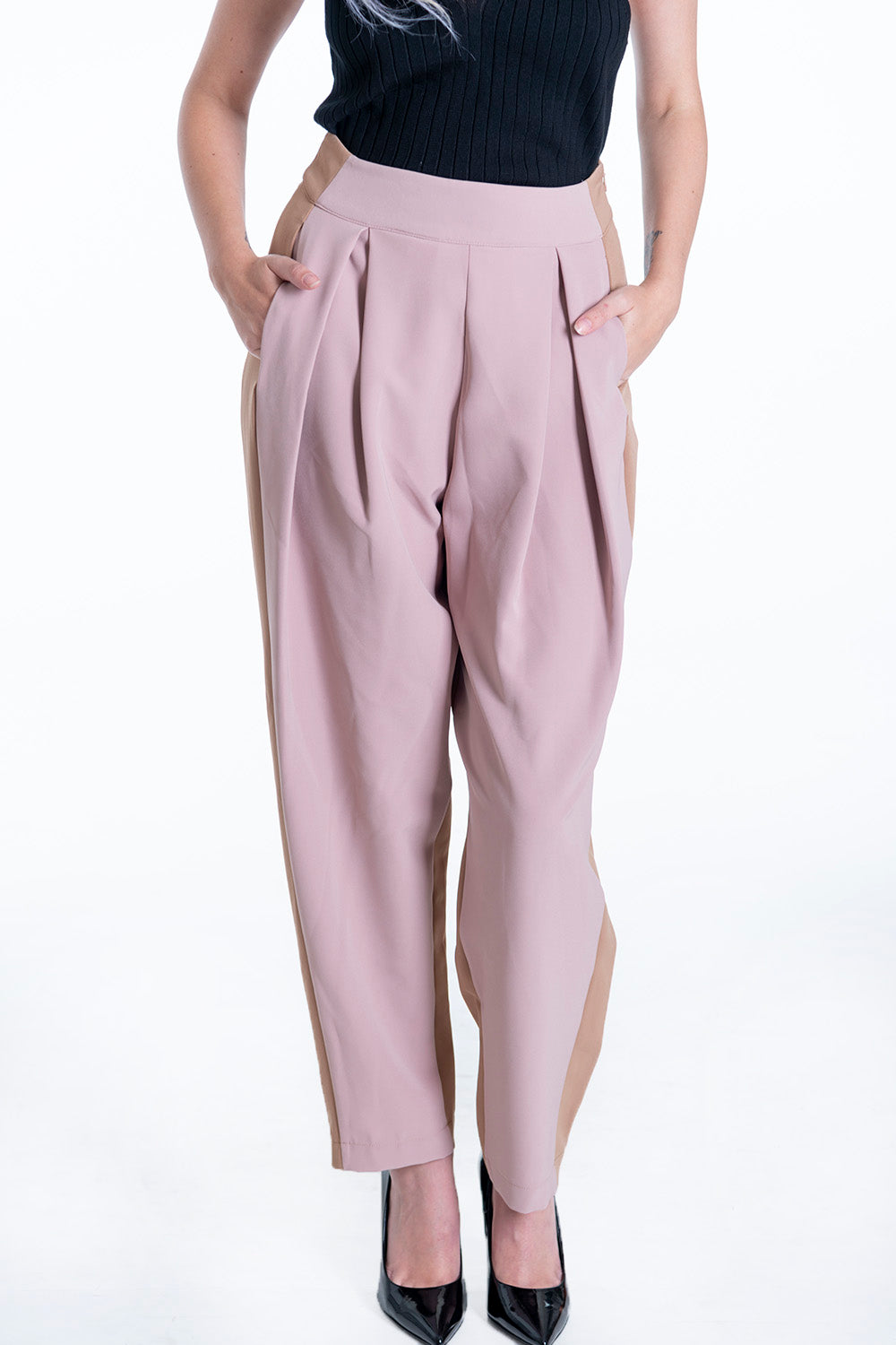 Lolamay co-ord high waist pink  trousers with pink panel