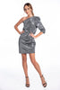 Patrizia Segreti metallic one shoulder puff sleeve mini dress