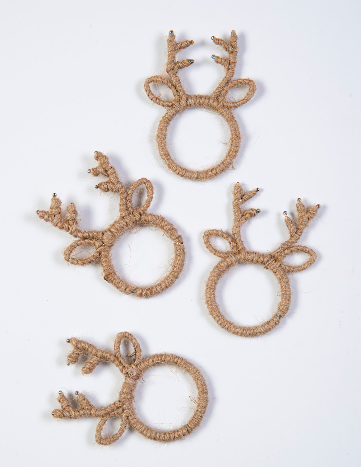 Set of 4 rustic reindeer napkin rings