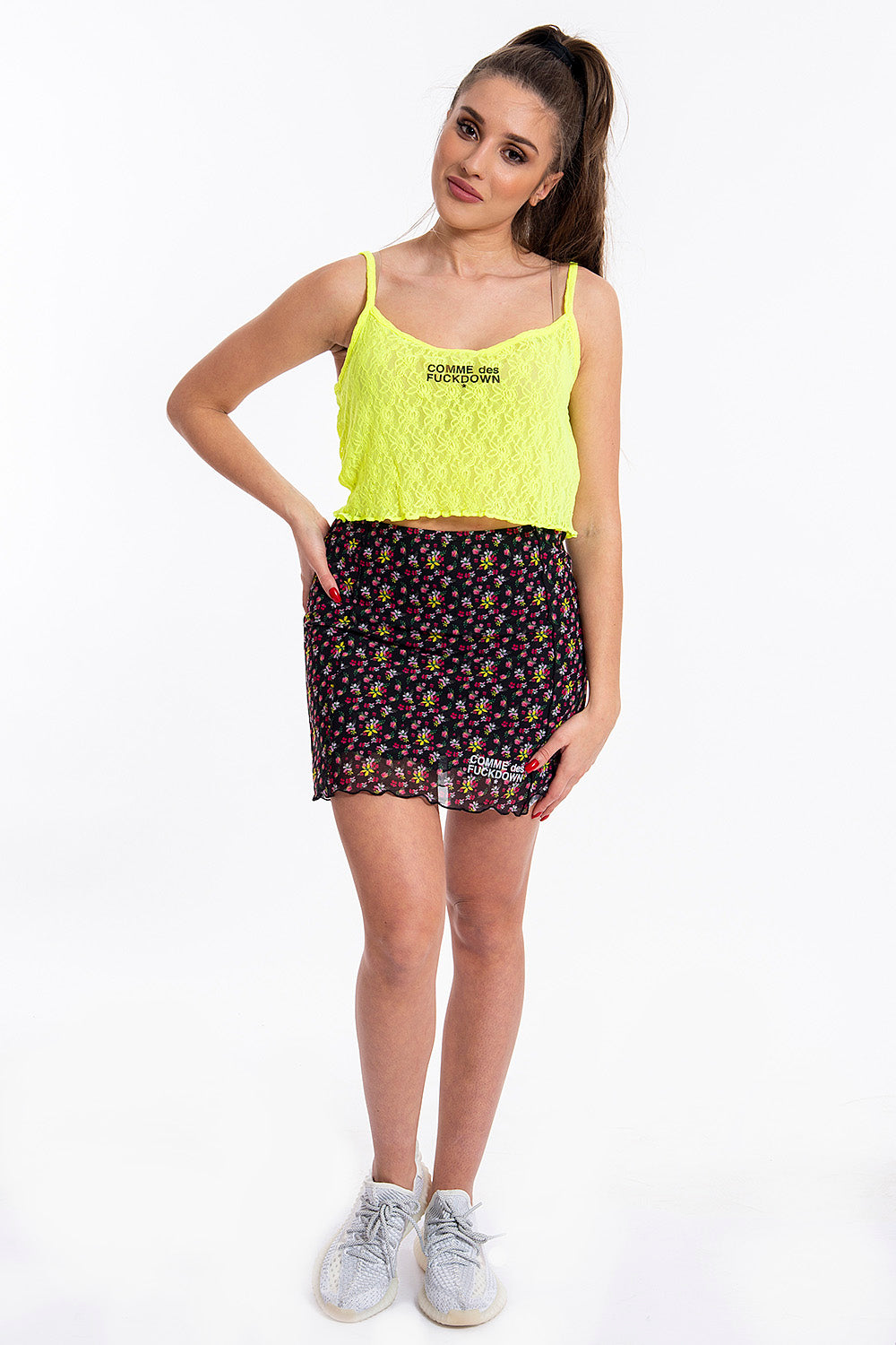 Comme des Fuckdown yellow neon lace cropped top
