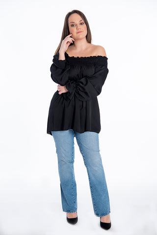 Rinascimento off shoulders textured silky top