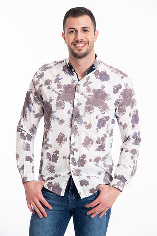 Paolo di Matteo linen shirt in moon collar with flowers pattern