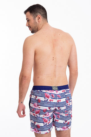 David floral and stripes swim shorts
