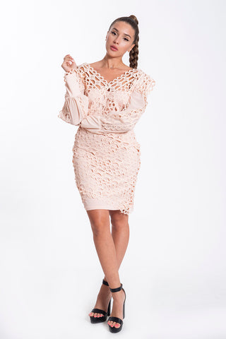 Danity laser cuts long sleeved romantic dress
