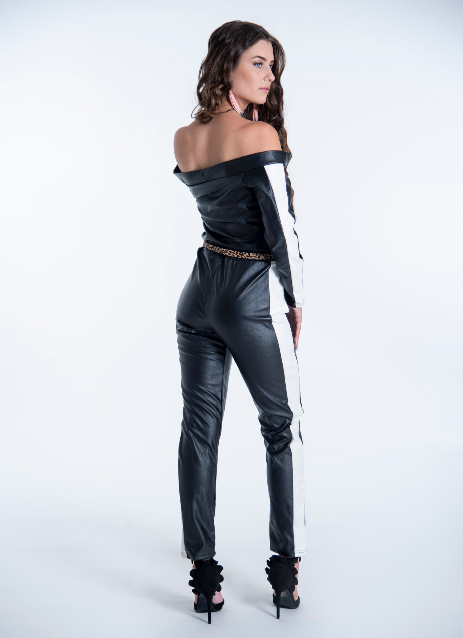 Leather bardot jumpsuit with white stripe