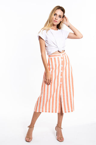 Glamorous stripes linen skirt with buttons