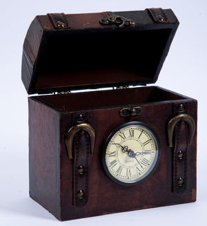 Vintage clock box with faux leather coating