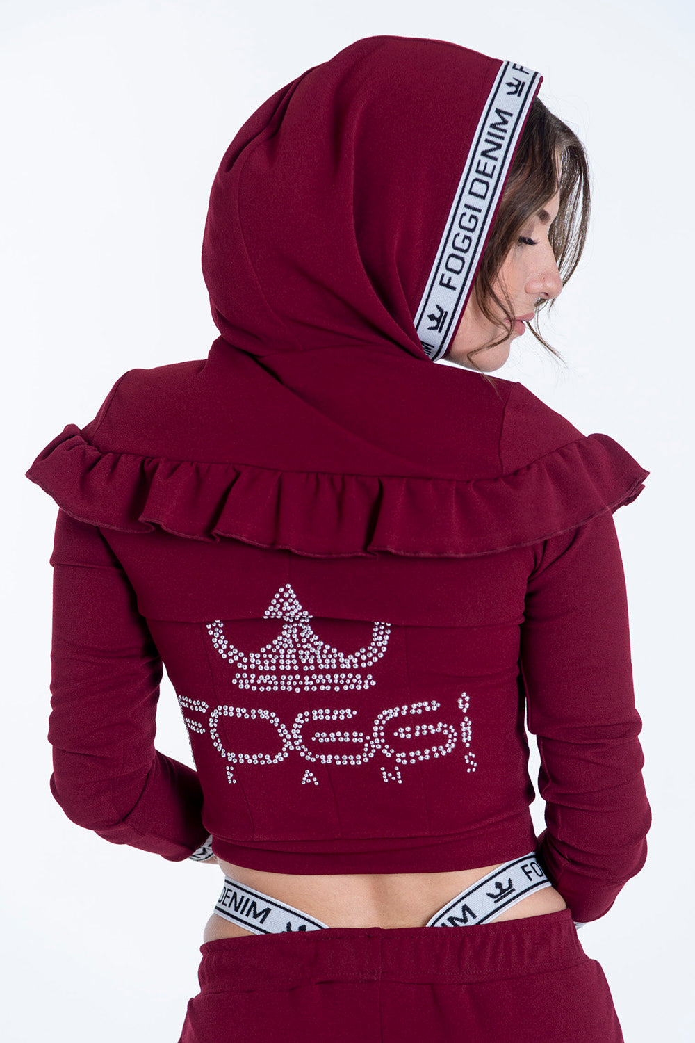 Foggi co-ord logo hood and back jacket with frills