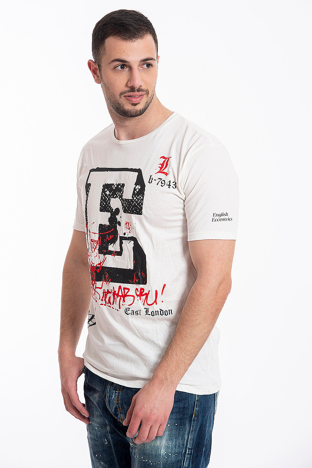 "Gianni Lupo ""E"" print text t-shirt"