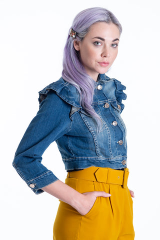 H2O short denim jacket with frills and 3/4 sleeves