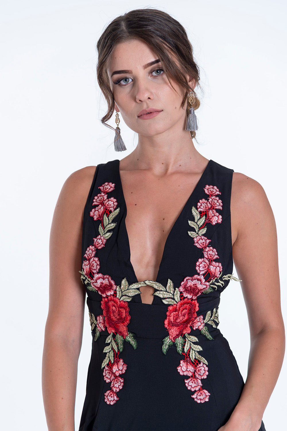 Bojo mini dress with embroidered flowers