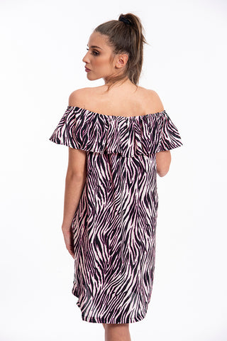 Comme des Fuckdown fuchsia zebra strapless dress with frills