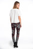 Check and floral details skinny trousers