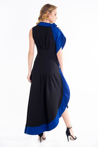 Teem holywood sleeveless maxi dress with side 3D ruffles