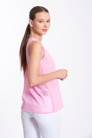 Akè sleeveless bow sheer top