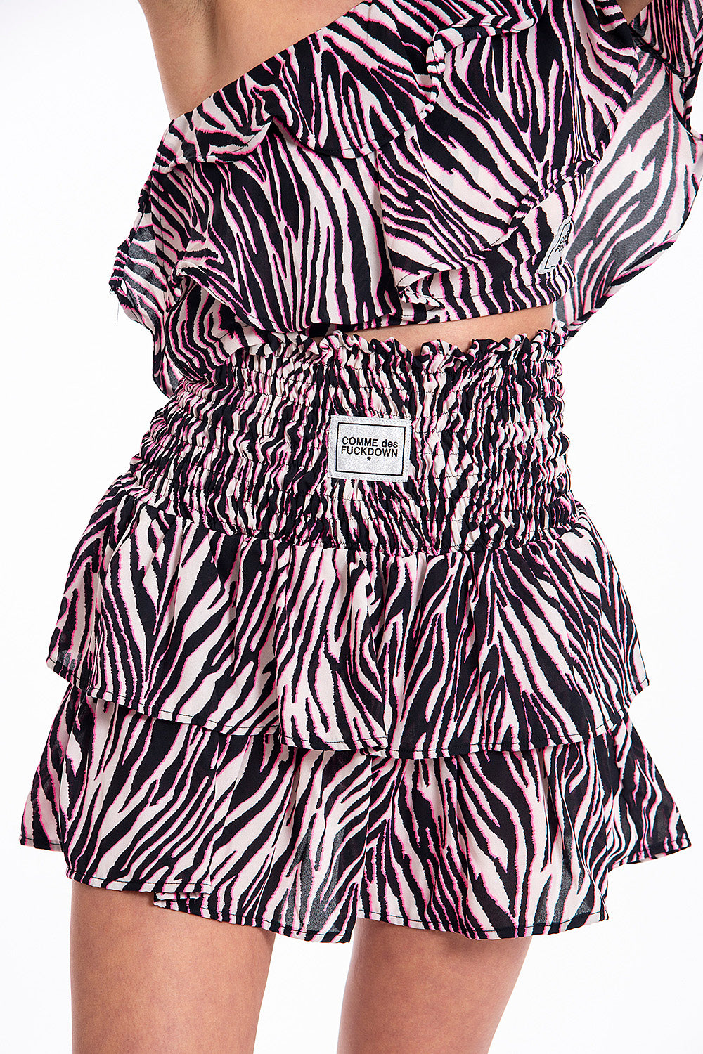 Comme des Fuckdown pink zebra skirt with ruffles