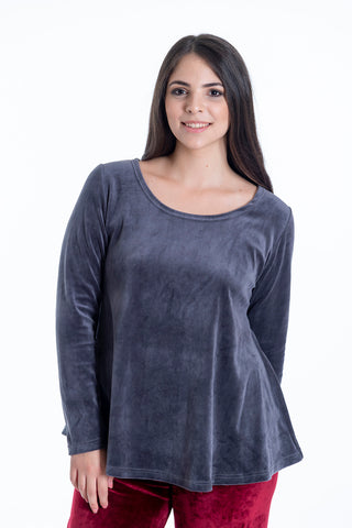 Pixie oversized velvet loungewear jumper with scoop neck