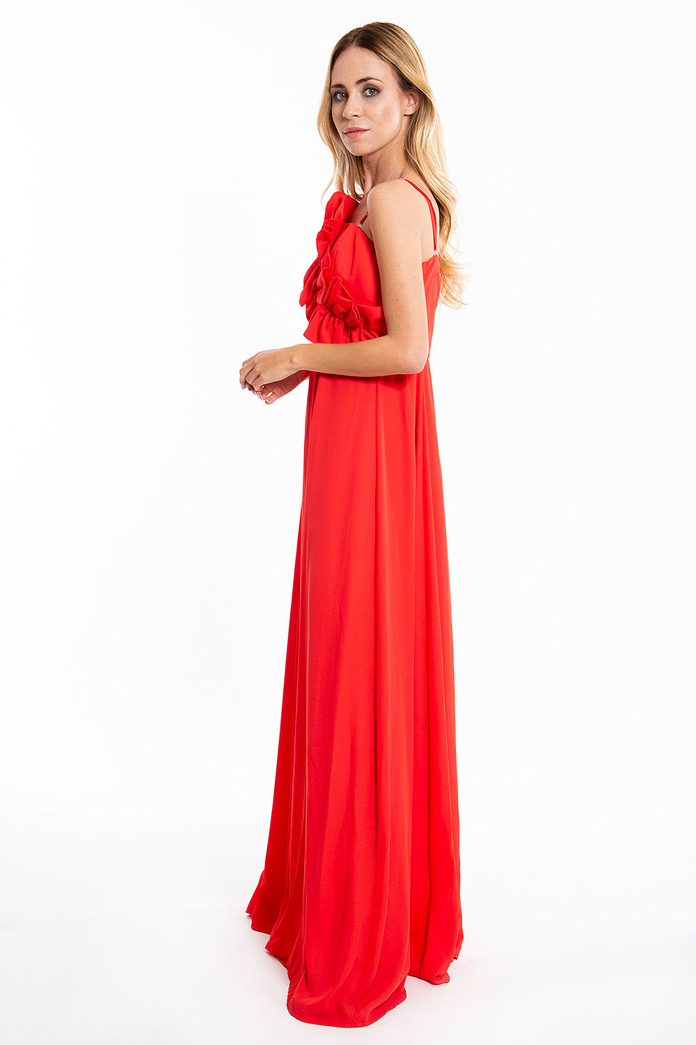 Desiree floor length dress with bust frills