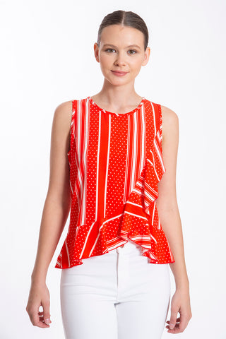Akè polka top with frills