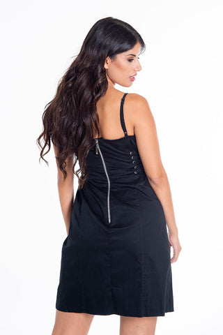 Skinny bodycon dress with side ties