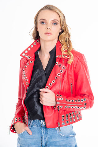 Hellen Batterr leather cropped jacket with studs