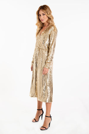 Glamorous full sequins wrap oversized jumpsuit