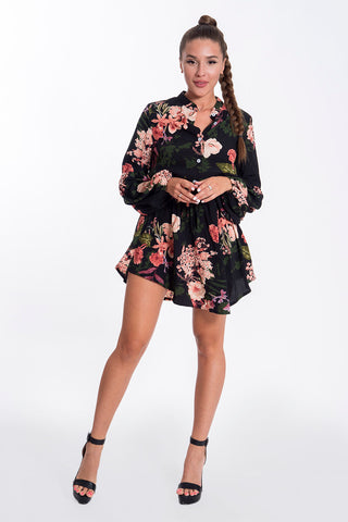 Parisian mini shirt dress floral dress