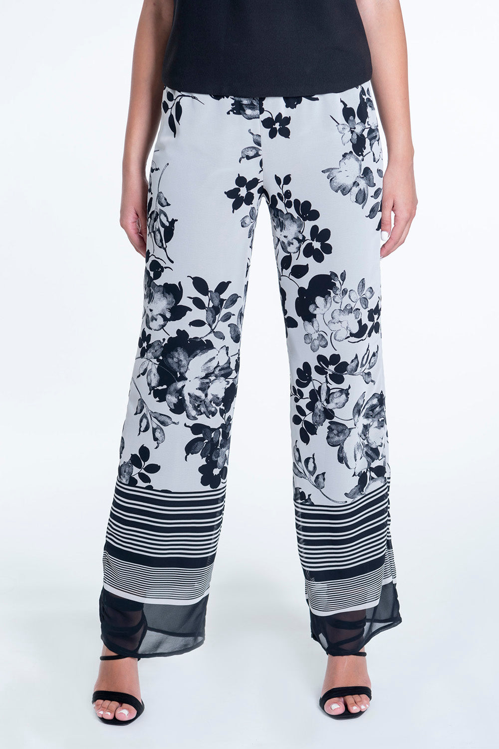 Exsy wide leg trousers with waistband and flower pattern