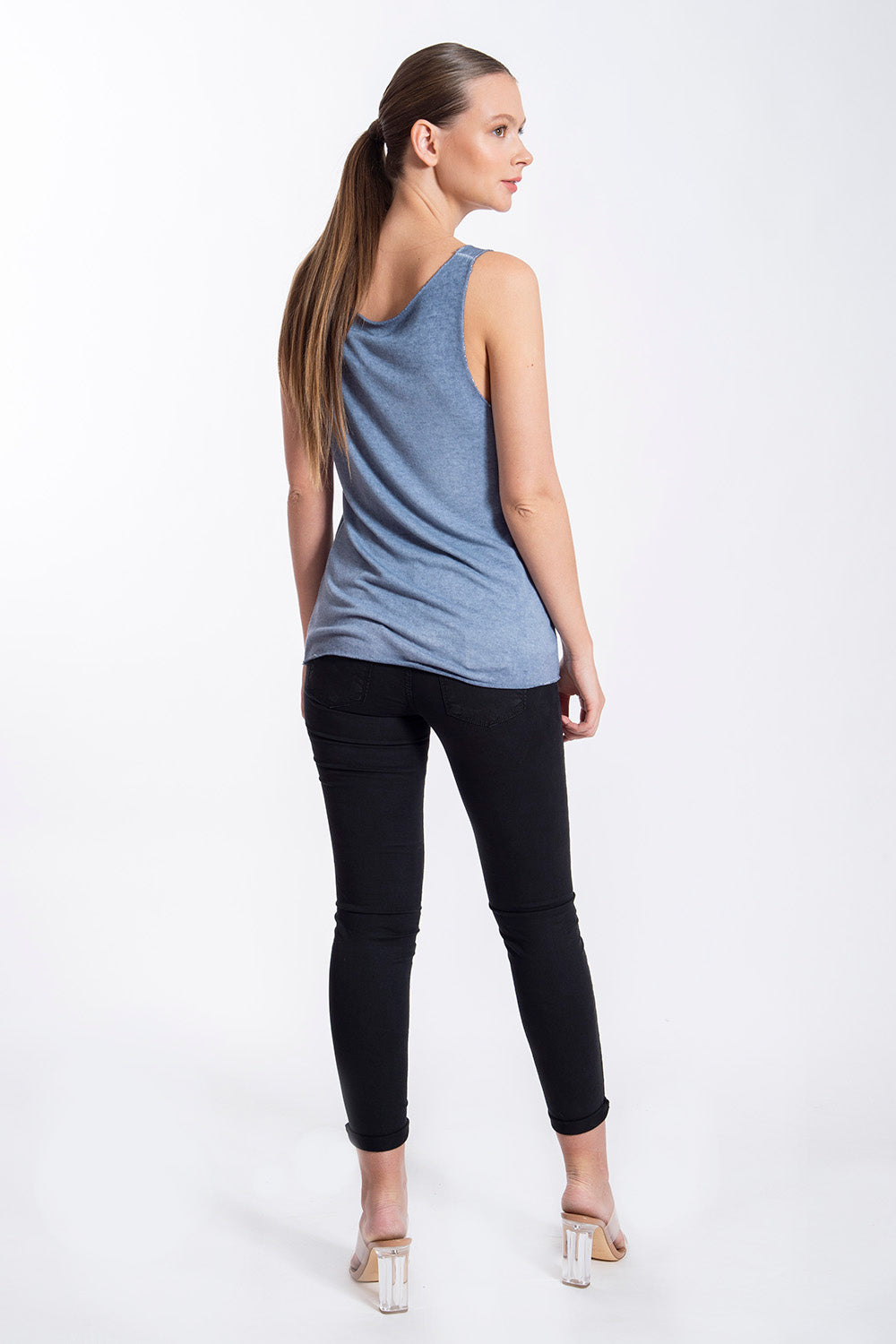 Thin knitted top with metallic trim detail
