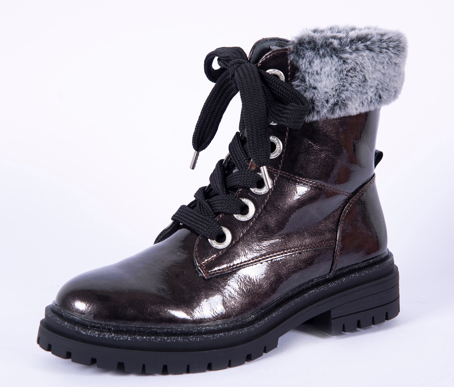 Fabs flat tie boots with side zip fastening