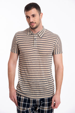 besilent linen thin stripes polo t-shirt