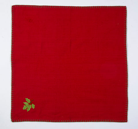 Red napkin with border sewing and christmas embroidered detail