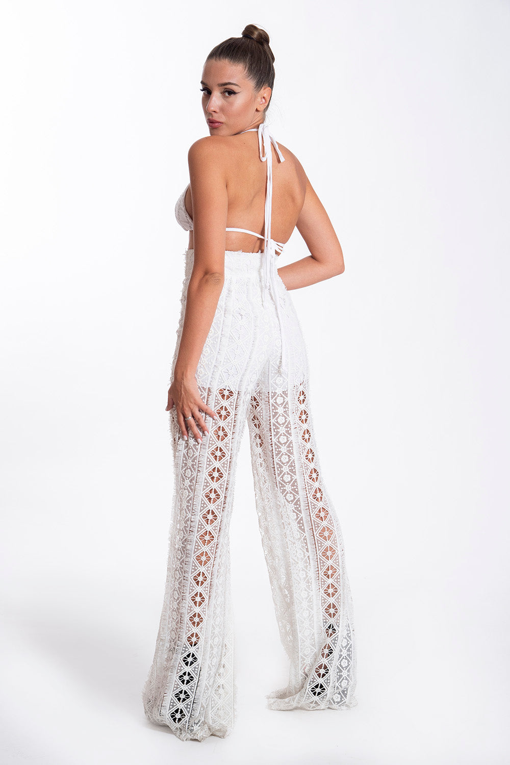 Nidodileda laser cut white patterned trousers