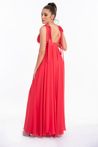 Feleppa maxi dress with split and shoulders tie