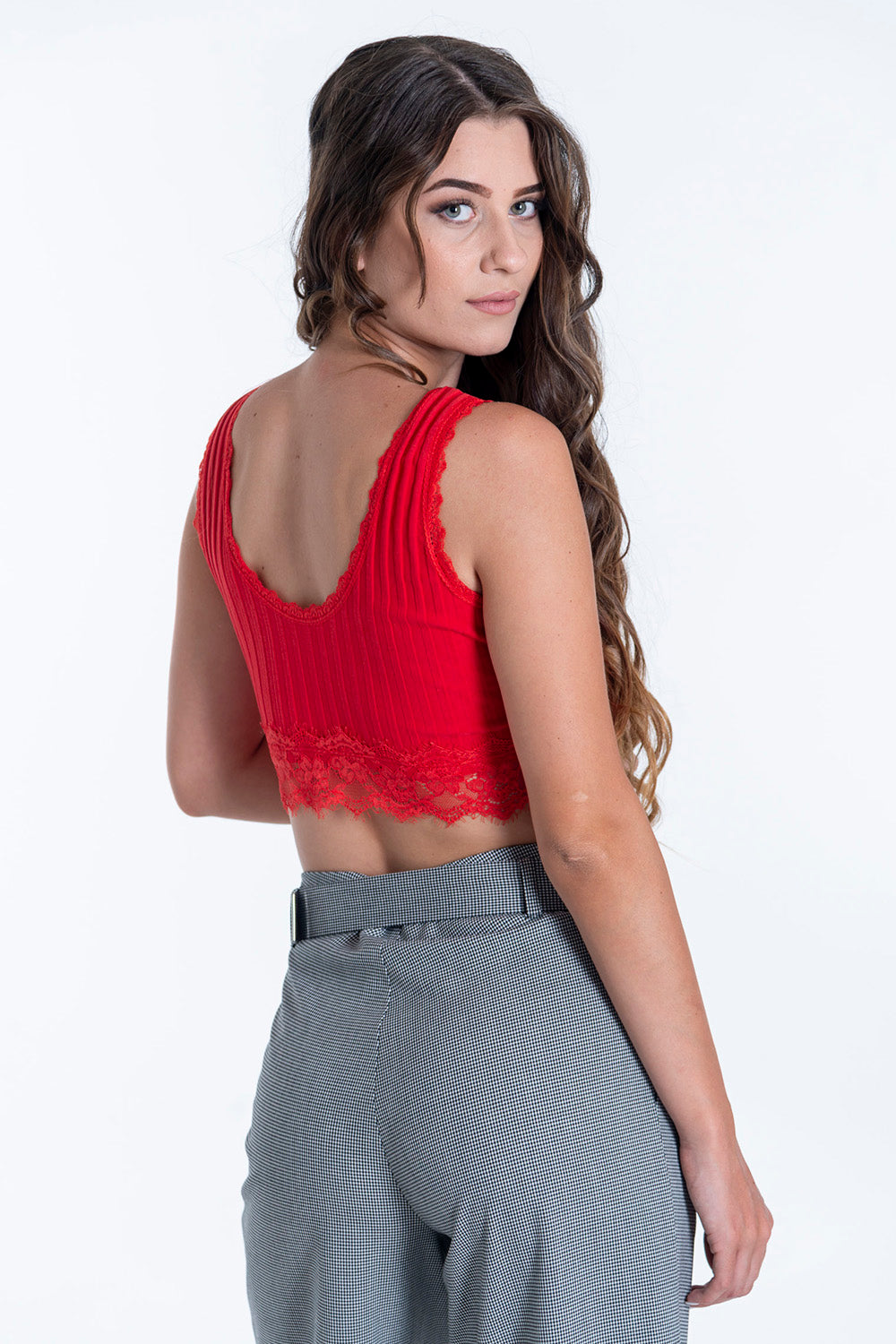 Ribbed lace detail crop top