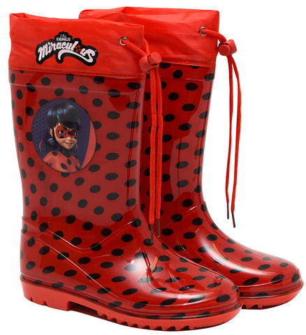 Miraculous rainboots with drawstring and polka pattern