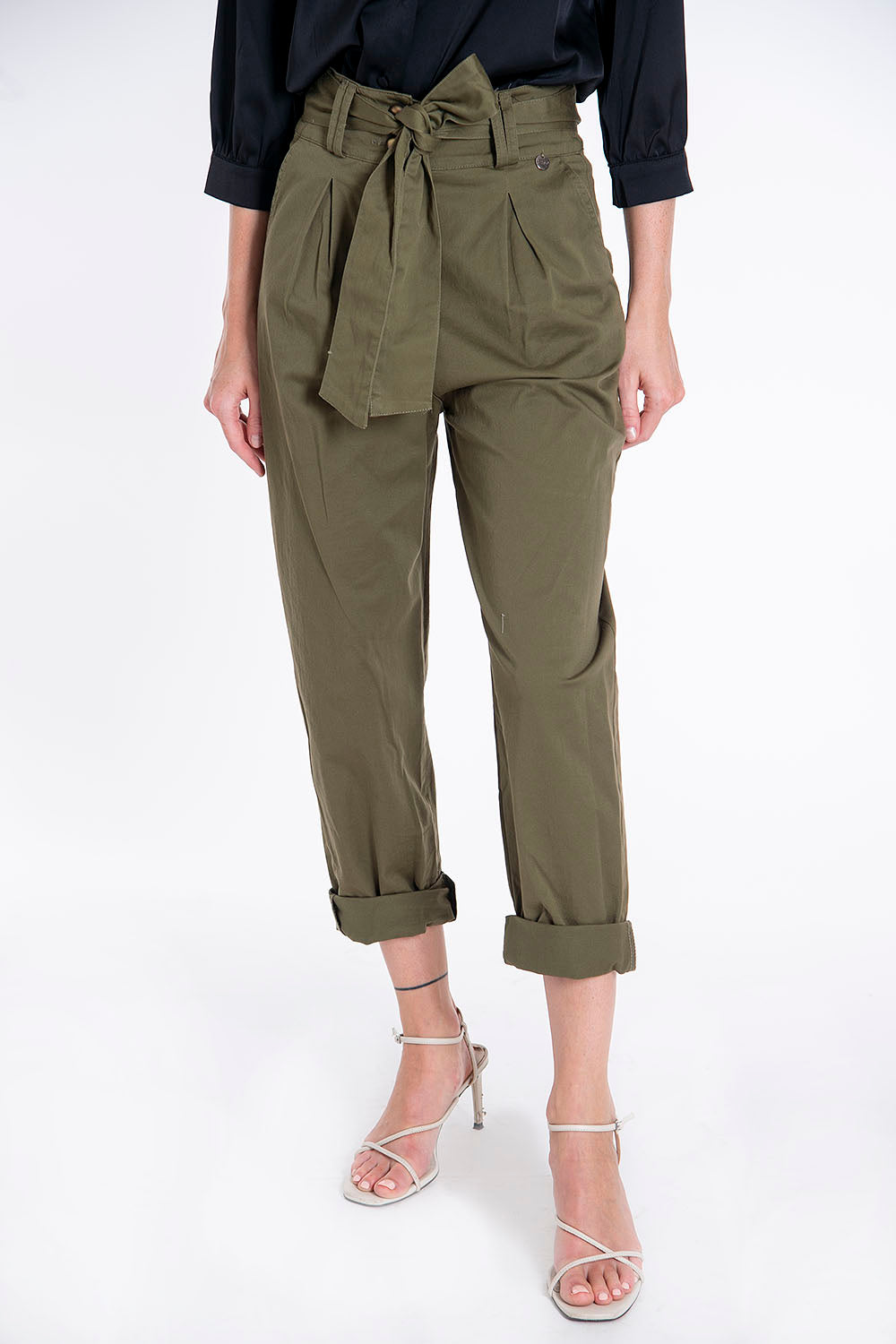 Tensione in high waist belted pegged khaki trousers