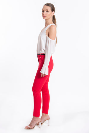 Akè basic skinny belted trousers