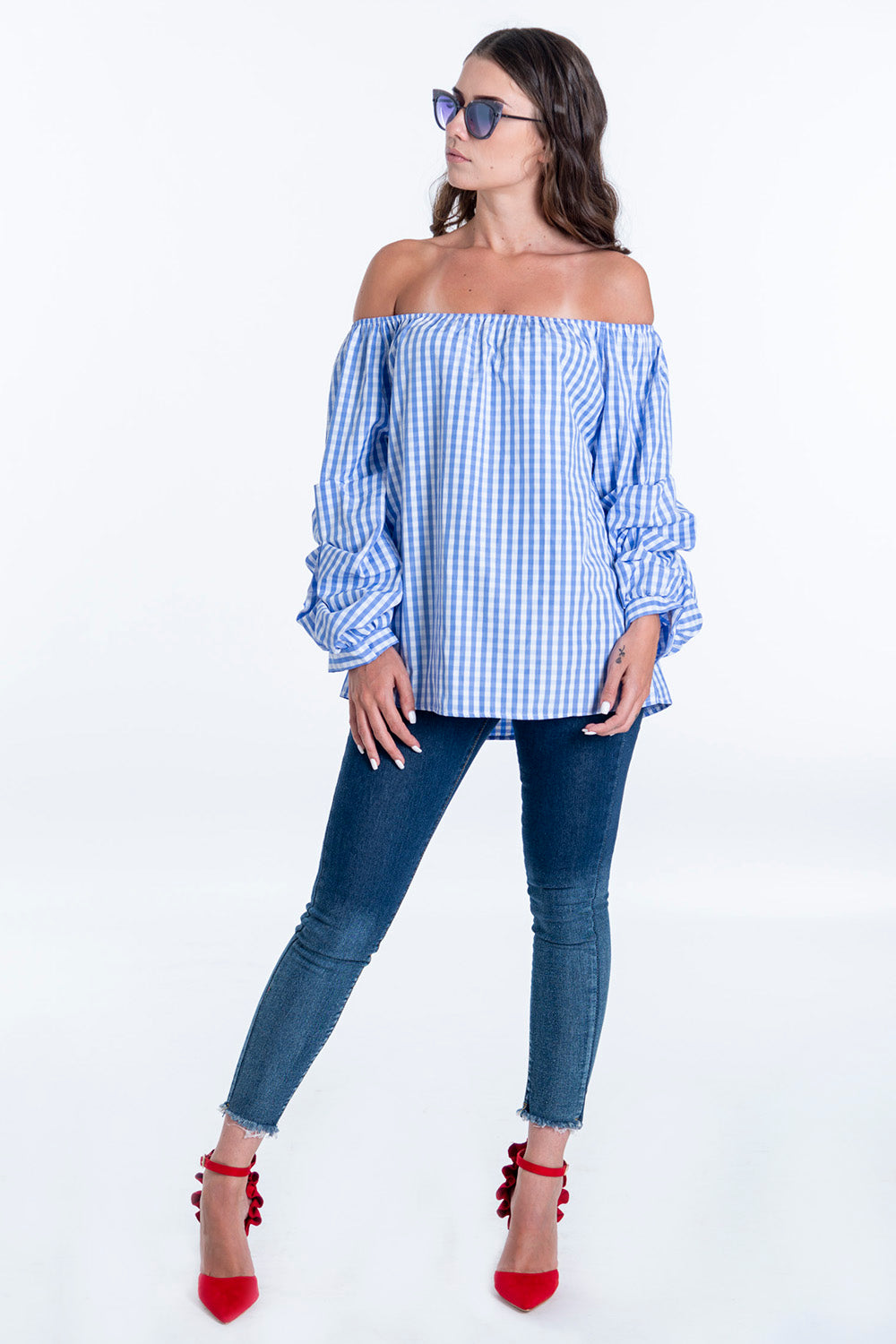 Eiki bardot top with ruched 3/4 sleeves in check print