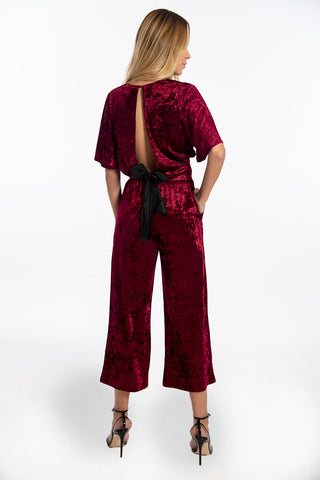 Goa Goa velvet co ord crop top with V front and short sleeves
