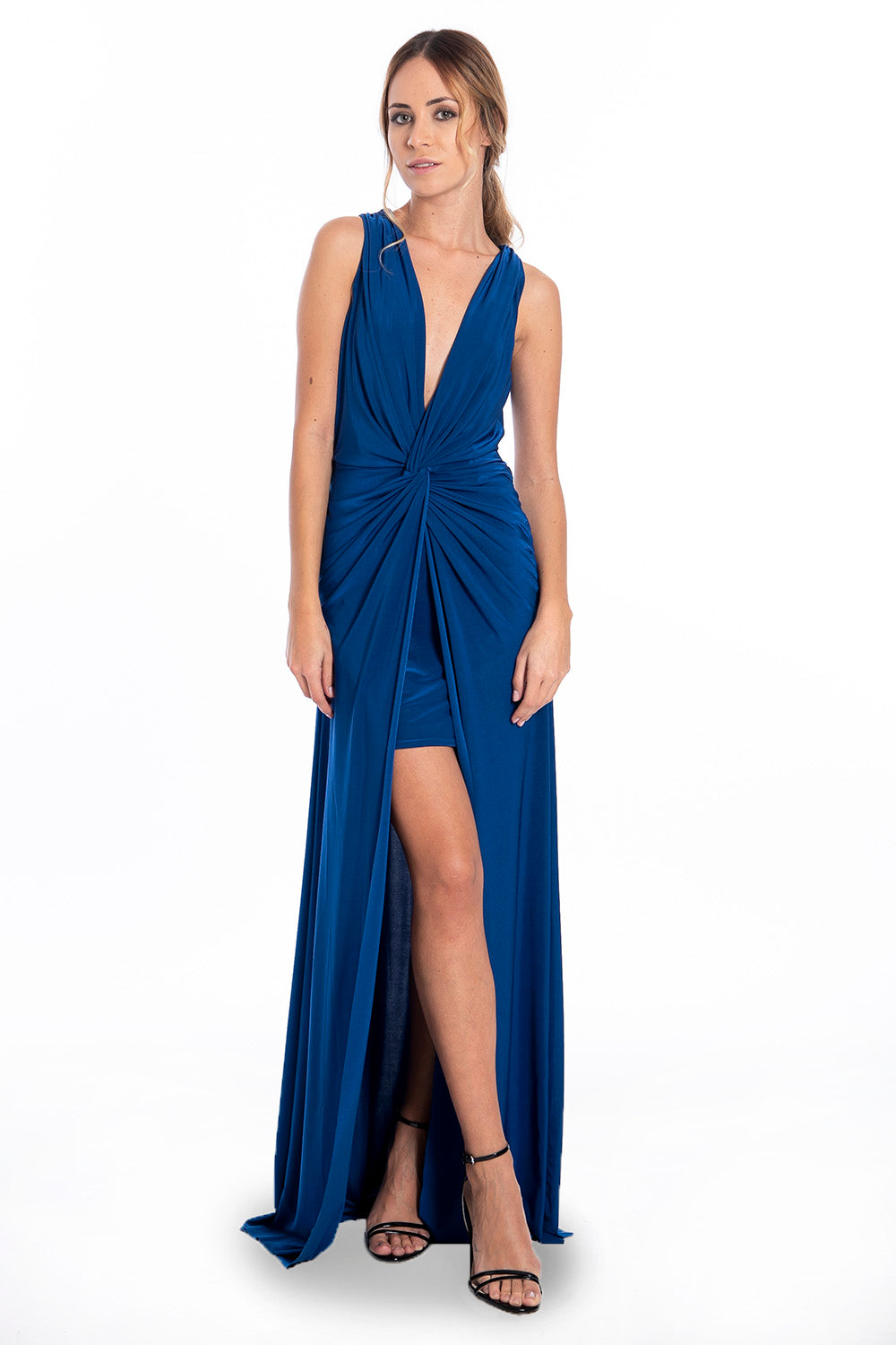 Goddiva ruched detail maxi dress with open back