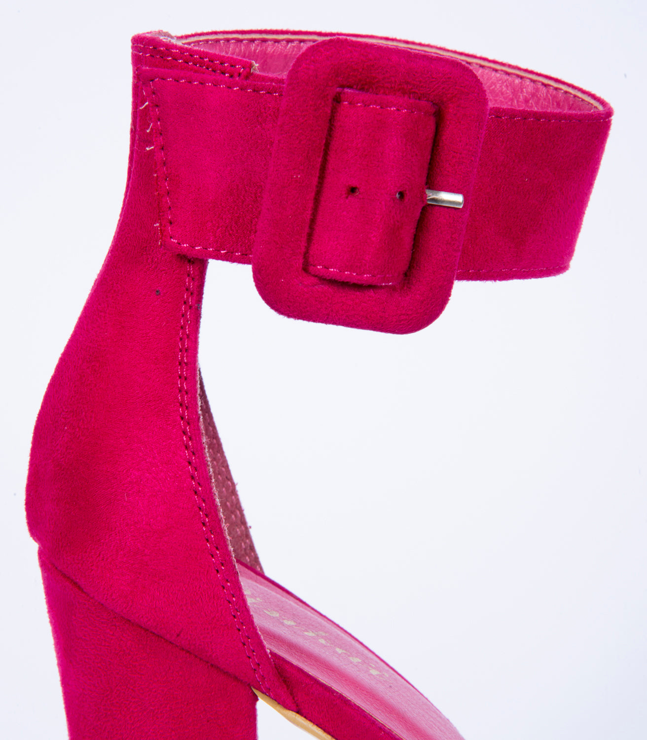 High heel block sandals with buckle strap