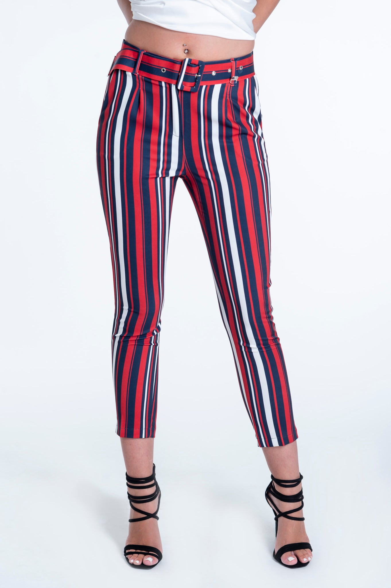 Akè trousers in colours' stripes with belt
