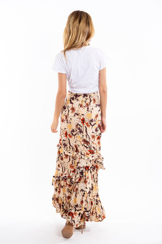 Glamorous floral with ruffles maxi skirt